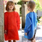 環保款兒童防水畫畫衣大中童圍裙學生幼兒園反穿衣寶寶長袖罩衣夏【快速出貨】