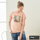 【JEEP】女裝 夏威夷印花短袖TEE-粉橘