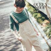 Queen Shop【04050472】洗舊鬚邊寬鬆斜紋布吊帶褲 S/M*預購*