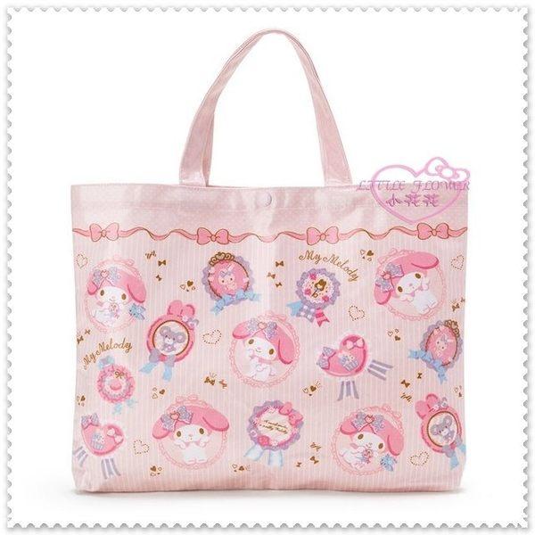 ♥小花花日本精品♥ My Melody 美樂蒂 小兔子 粉色 防水材質 滿版圖 緞帶 手提袋 補習袋 10023600