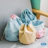 收納袋抽繩束口收納袋布藝收納桶旅行收納包桌面雜物收納容器
