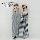 Queen Shop【01085022】V領半釦黑白格紋背心洋裝 附綁帶 兩色售*現+預*