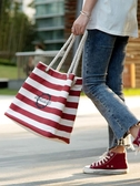 手提包居家家條紋帆布袋環保大容量買菜包女外出超市購物袋便攜手提袋子快速出貨