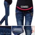 【MN0101】顯瘦刷色窄管牛仔褲.腰圍可調