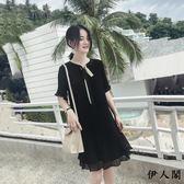 雪紡連衣裙女溫柔裙黑色慵懶裙子