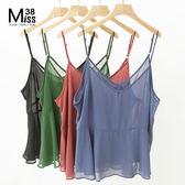 Miss38-(現貨)透膚四色 雪紡遮肚可調細肩帶 背心 小可愛【A04022】(可兩面穿)