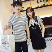 新款條紋短袖t恤連衣裙情侶裝兩件套Eb13735『M&G大尺碼』
