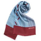ARMANI COLLEZIONI 時尚幾何碎形雙色拼接真絲圍巾(藍/紅色)102808-1