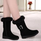 皮毛一體雪地靴女中筒冬季保暖加絨加厚棉鞋女平底百搭 【快速出貨】
