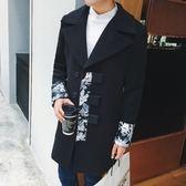 風衣外套-時尚帥氣個性大翻領中長版拼接男大衣73ip60[時尚巴黎]