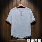 中國風男裝亞麻T恤男士短袖寬鬆大碼棉麻衣中式麻料盤扣上衣服 自由角落
