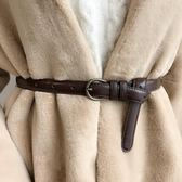 學生皮帶簡約復古百搭做舊銅扣細腰帶女毛衣外套大衣裝飾 茱莉亞嚴選