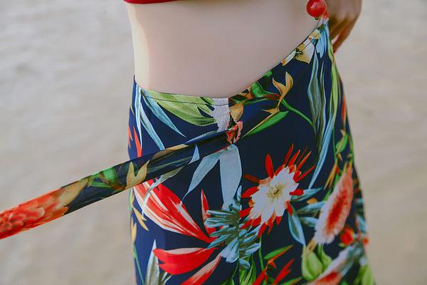 半身裙2017夏季新款獨家定制數碼噴繪夏威夷花卉繫沙灘裙波西米亞半裙