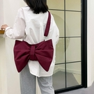 斜背包 原創小眾個性可愛蝴蝶結托特包大容量斜背包側背布包女帆布包氣質 童趣屋