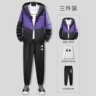男士套裝春秋季新款跑步休閒運動衣服小脚長褲長袖三件套男裝搭配