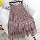 金絲絨半身裙女秋冬季2020新款中長款百搭高腰百褶《蓓娜衣都》