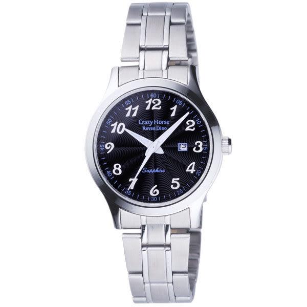 Roven Dino羅梵迪諾 雅痞時尚簡約日期腕錶-黑X銀/小