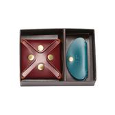 【LIEVO】 水蠟皮壓扣零錢包+水蠟皮耳機收納包