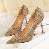復古細跟高跟鞋子 絨面石頭紋顯瘦鞋《小師妹》sm572