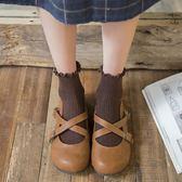 春秋款棉質女士短筒襪木耳邊可愛潮短襪日系復古森女學院風中筒襪 【快速出貨八五折鉅惠】