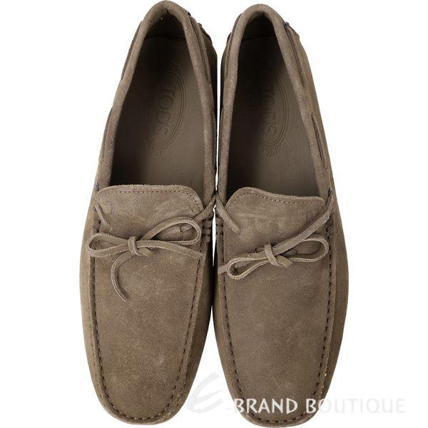 TOD'S GOMMINO 茶色麂皮綁帶豆豆休閒樂褔鞋(男) 1240500-64