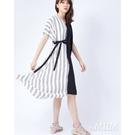 daMIIM拼接綁結造型洋裝-二色-白黑...