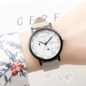 韓版原宿風時尚簡約潮流復古大表盤情侶手表新款腕表 df543『男人範』