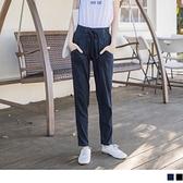 OB嚴選《BA2683-》仿牛仔棉質彈性寬鬆窄管長褲