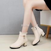 小短靴女軟皮百搭粗跟中跟秋新款鞋子女皮鞋春秋單靴馬丁靴