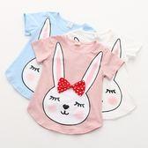 寶寶小兔子印花T恤 2019夏裝新款女童童裝外套短袖上衣tx-7286 滿天星