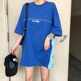 長款T 韓版原宿風bf背後字母印花寬鬆大碼中長款短袖T恤裙OVERSIZE女 米蘭街頭
