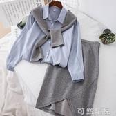 時尚秋季新款襯衫拼色假兩件套上衣中長款半身裙淑女套裝 可然精品