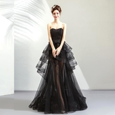 歐尚-黑色蕾絲前短后長晚宴年會演出生日派對主持人婚紗2856
