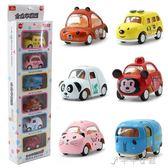 兒童卡通動物車Q版合金回力滑行車模型 迷你小汽車玩具 禮物 千千女鞋YXS