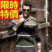 POLO衫 長袖男上衣-質感收腰精品純棉質2色59x6【巴黎精品】