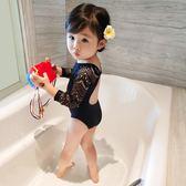女童泳衣童裝連體黑色蕾絲兒童泳衣長袖【南風小舖】