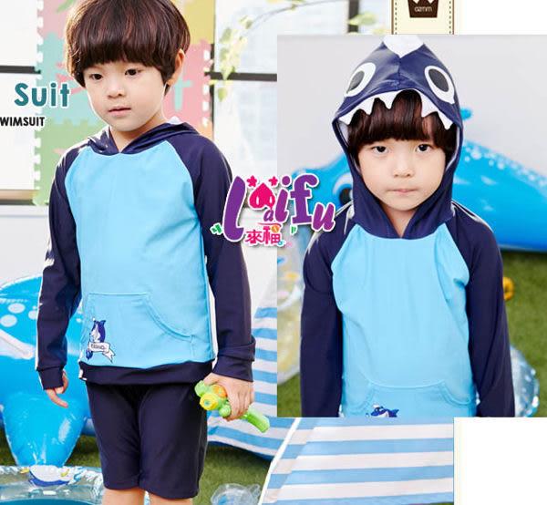★草魚妹★F18兒童泳衣鯊魚長袖兒童泳衣小朋友游泳衣男泳褲,售價600元