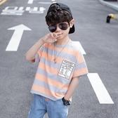男童短袖T恤 男童t恤2020年夏季中大童洋氣兒童夏款條紋休閒短