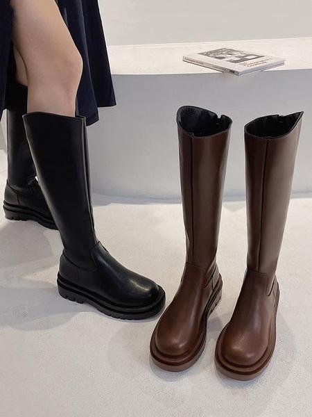 長靴 粗跟長筒靴女2021秋新款側拉鏈復古騎士靴不過膝高筒小個子長靴潮 卡洛琳