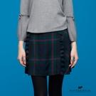 兩側荷葉邊造型格紋短裙 【AF2114】