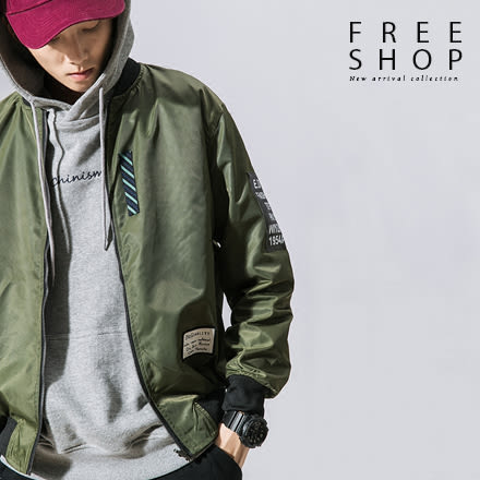 Free Shop 情侶款雙面穿哭臉設計MA-1飛行外套空軍外套夾克黑軍綠藍色 有大尺碼男女中性款【QTJJ26】