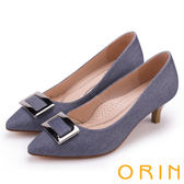 ORIN 復刻經典 質感布料方型釦環細高跟鞋-藍色