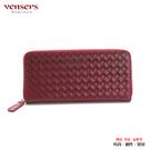 【vensers】 小牛皮潮流個性皮夾~ (NB0887508玫紅編織長夾)