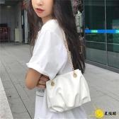 水桶包 2020韓國新款女斜背包褶皺包網紅氣質單肩錬條包時尚百搭腋下包潮
