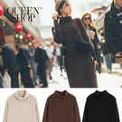 Queen Shop【01084813】高領坑條針織洋裝 三色售*現+預*