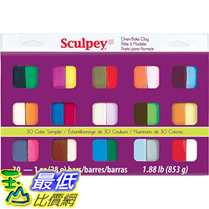 [106美國直購] Sculpey S330 美國土粘土 III Oven Bake Clay Sampler 1oz, 30/pkg