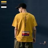 短袖T恤 夏季短袖T恤男潮牌潮流寬鬆半袖體恤衫情侶棉質復古圓領嘻哈上衣 4色M-2XL 交換禮物