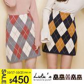 LULUS-E配色菱格針織短裙-5色  現+預【05011285】
