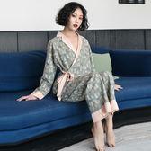 日式和服睡衣女長袖大碼性感家居服