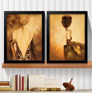 酒吧創意個性裝飾畫服裝店掛畫性感美女復古臥室床頭壁畫33*43黑框